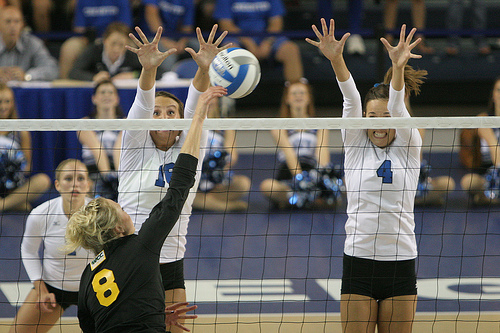 An important blocking in volleyball tip is to watch the hitter you are going to block.
