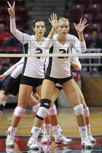 6 rotation volleyball zones on the Court:  There are 6 positions of volleyball also called zones that players rotate in and out of depending on the offense that their team runs. ( Bill  Shaner)