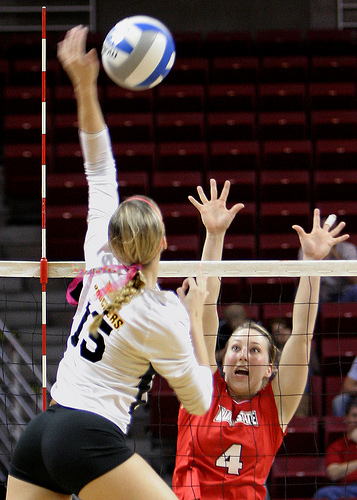 Wichita State Shockers Outside Hitter Attacking Against Illinois State  Photo by Bill Shaner