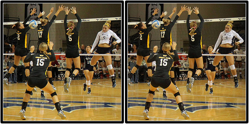 Rice Hitter Blasts Through A Triple Block Photo by Mike E. Johnston