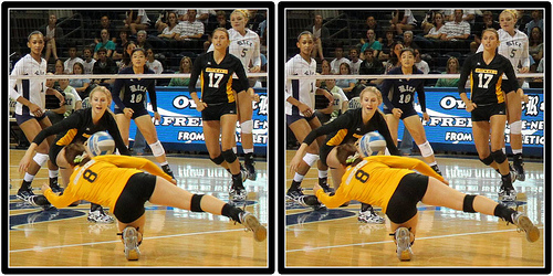 A volleyball defensive player like a libero or defensive specialist needs to be aggressive in the backrow while passing, digging and communicating well.