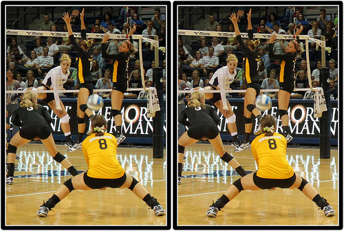 Wichita State Shockers Libero in Defense  Photo by Michael E. Johnston