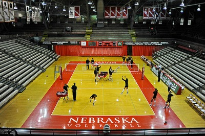 2017 NCAA Champion Nebraska Huskers court - photo by Manoosh - Improve your volleyball by knowing the basic rules.