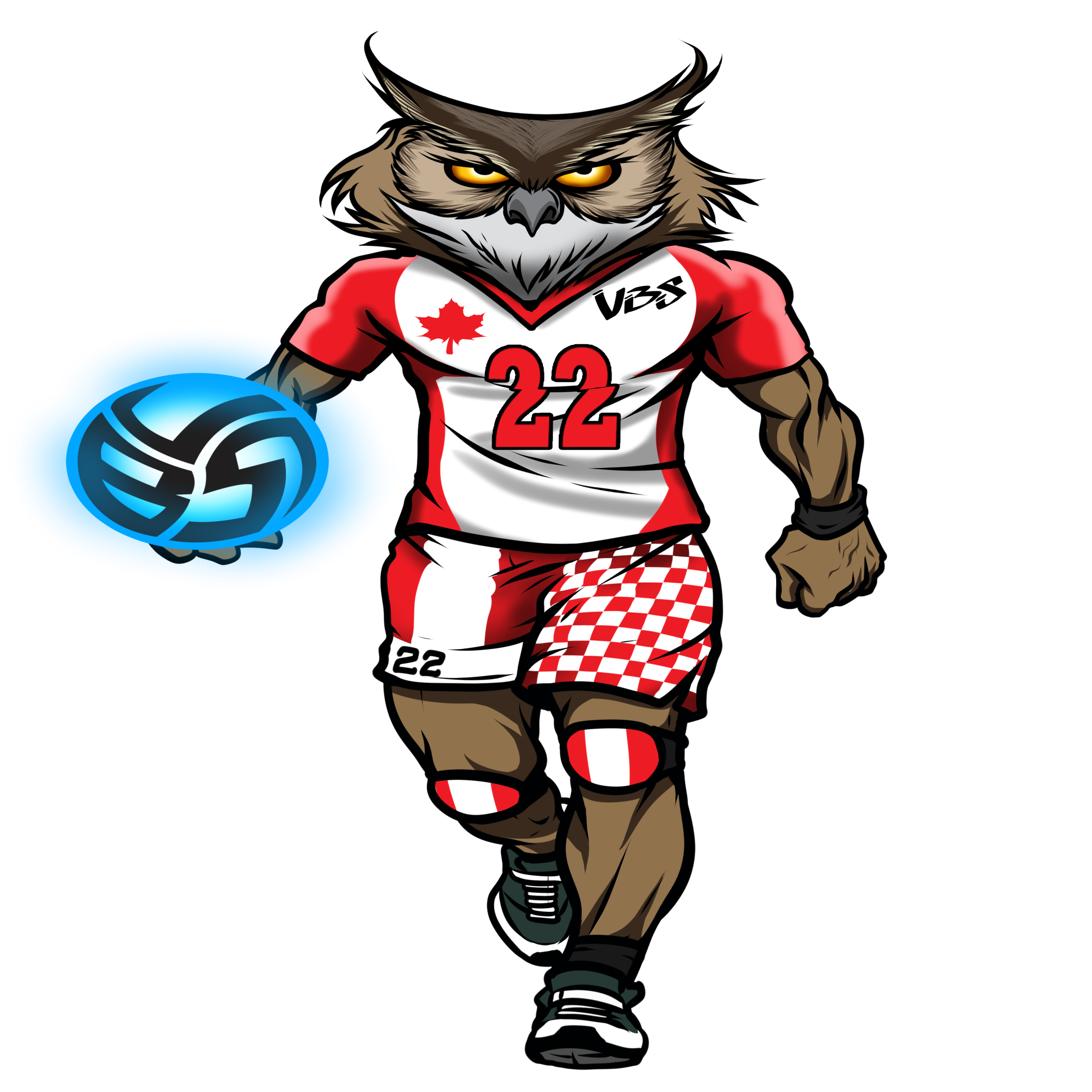 Animal T Shirt Ideas: Meet Ollie the Volleybragswag Owl, opposite hitter in his Canada flag inspired volleyball uniform. Volleyball Shirts available on Etsy!