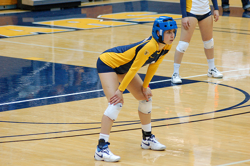 Cal Bears Libero With Protective Headgear  Photo by RRaiderstyle