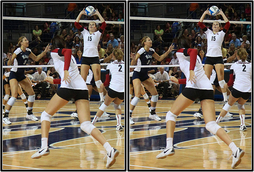 Volleyball Court Size: Stanford Setter Running The Offense From The Right Front/Zone 2 Position photo by Michael E. Johnston