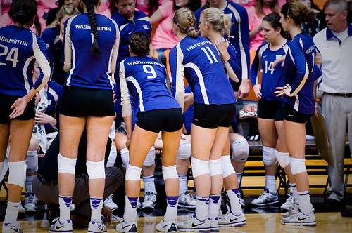 Volleyball Team Communication: Between plays if you're sure the problem is that your blockers are having, you can be the one to tell them. Pac 12 Washington Huskies in a timeout. (Beaver News)