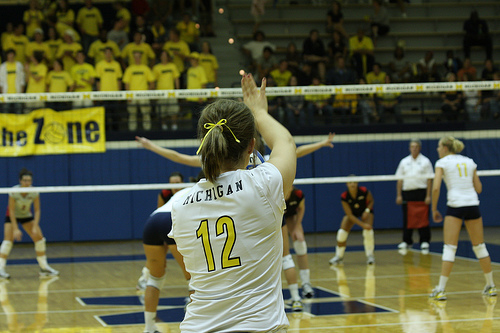 Serve The Volleyball Overhand:Michigan Server Photo by Sarah Worsham