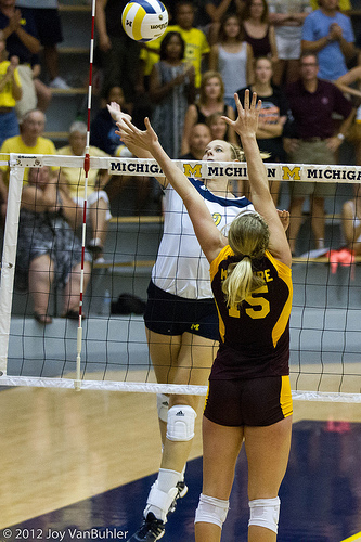 If you are the right side hitter spiking from your team's zone 2, then you would be making a line shot if you spiked a ball in or near zone 4 or zone 5 of the opposing team's court. (Joy Van Buhler)
