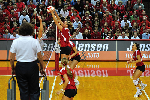 Volleyball Court Size: Nebraska Huskers Middle Blocker Blocking An Overpass From Middle Front/Zone 3 photo by John Carrel