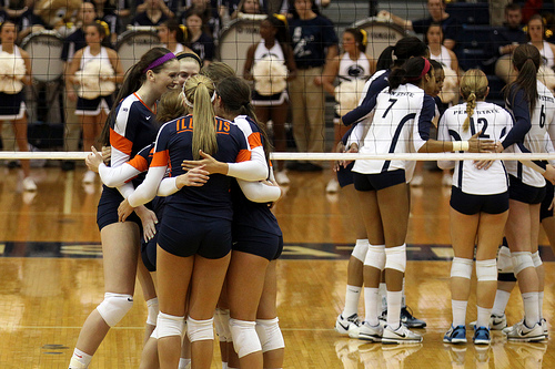 Collegiate female volleyball players: Fighting Illini Celebrates In Their Team Huddle