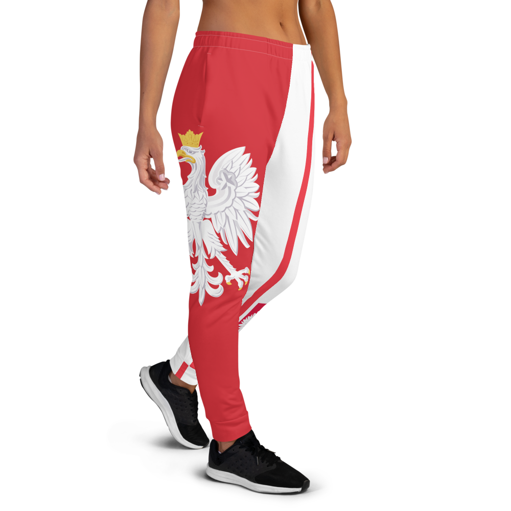 The Best Jogger Pants For Travel Are The Most Comfortable Sweatpants with Pockets with Volleybragswag designs inspired by the Tokyo Olympics World flags..(Poland flag inspired joggers)