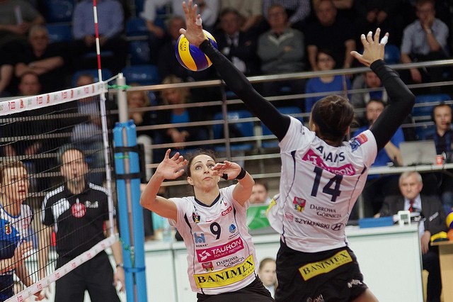 Volleyball Attacking: if you choose to hit the ball hard, after taking your spike approach to the ball and jumping in the air to hit it, that's called a spike. (Jaroslaw)