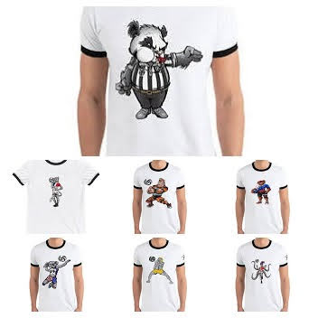 Each animal has their own shirt, owl shirts for owl lovers, koala shirts for for koala bears and a zebra shirt for fans of striped horses. Ringer tees available on Amazon