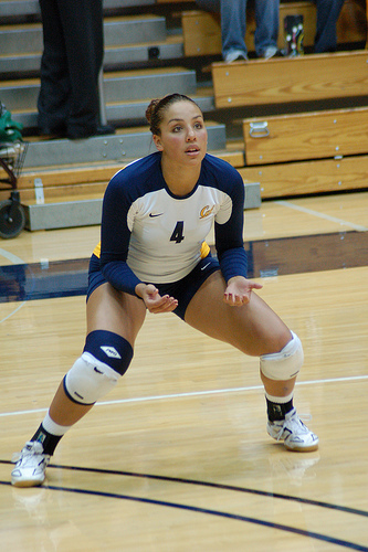 (rraiderstyle) A preferred volleyball ready position for advanced players before passing the ball.