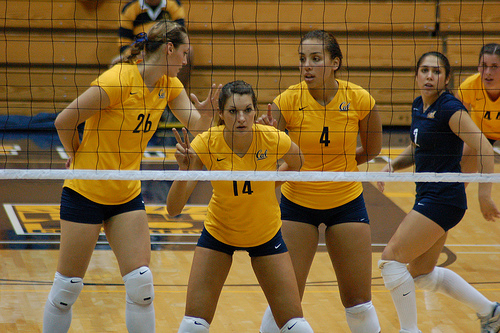 Volleyball rules for communication: Cal Bears volleyball team talking to each other in defense