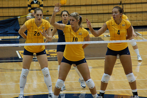 Indoor volleyball court:Cal Berkeley Volleyball Players On Defense In The Front Court photo by RRaiderstyle