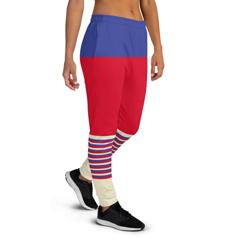 These ideas for cute outfits with sweatpants have to be comfortable, colorful and stylish in order to be part of the Volleybragswag brand.  ..(Russia flag inspired joggers)