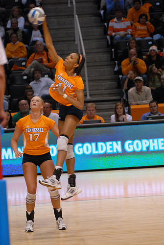 Basic rules of volleyball: University of Tennessee hitter in attack