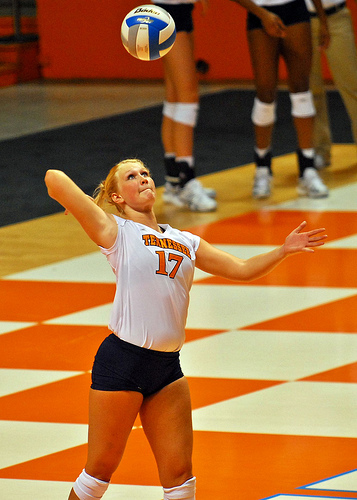 Tennessee Player's Serves The Volleyball Overhand  Photo by Tennessee Journalist