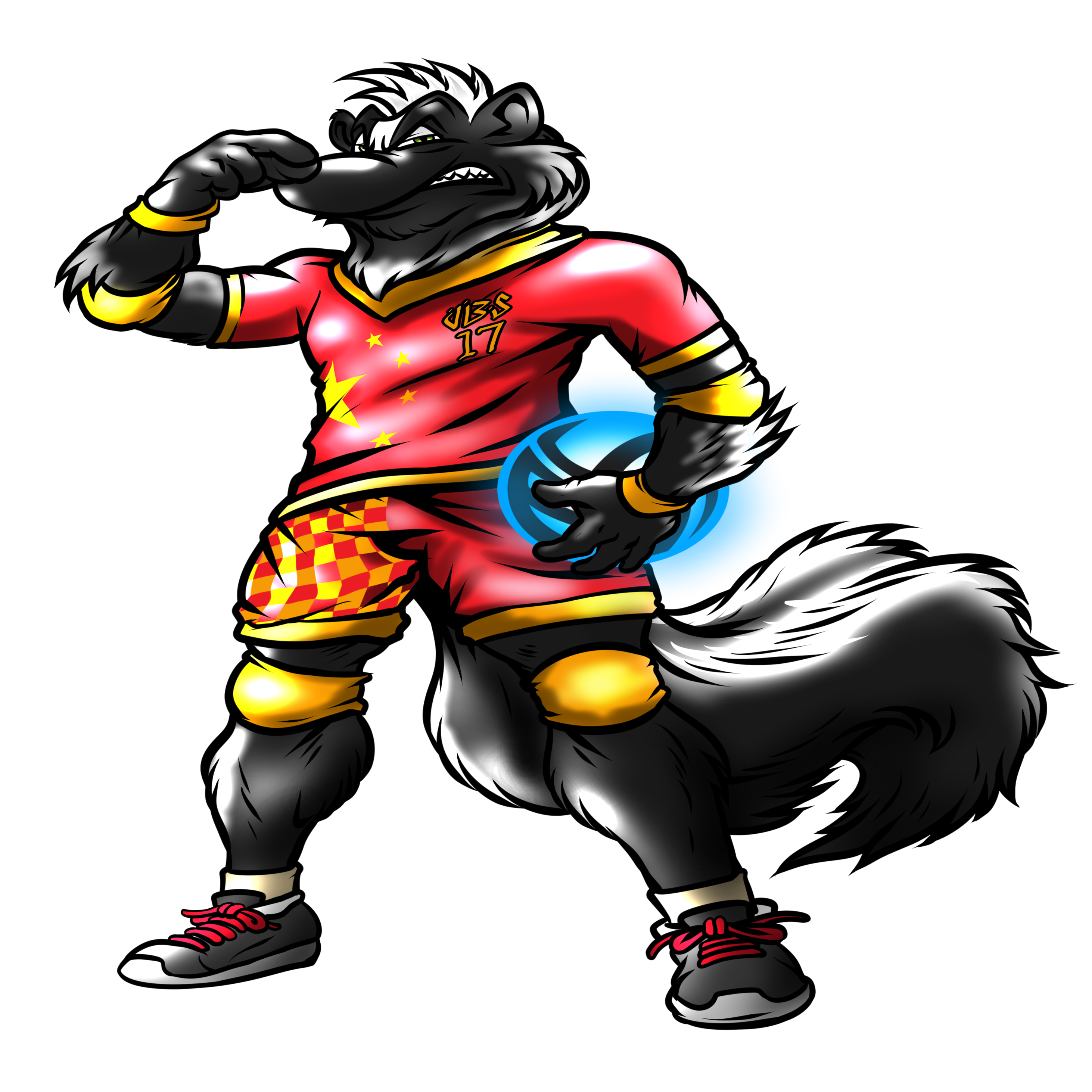 Skunk shirts by Volleybragswag have Cool Animal T Shirt Designs featuring Stank the Volleybragswag Skunk - Defensive Specialist. Stank wears a China flag inspired uniform.
