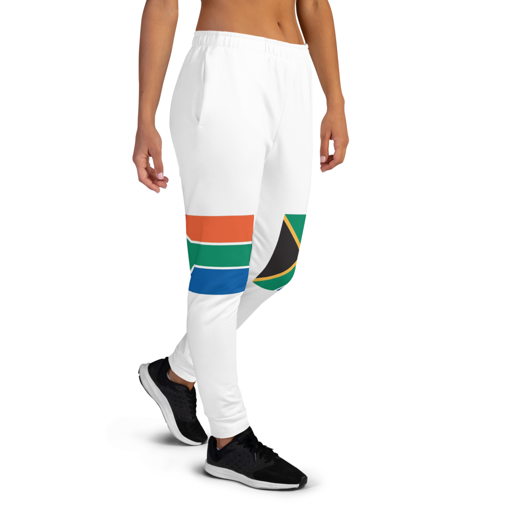 White jogger pants inspired by the flag of South Africa by Volleybragswag