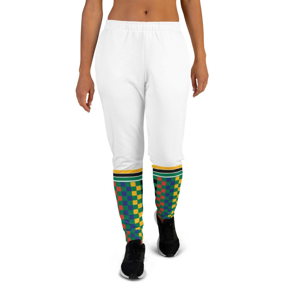 Green jogger pants inspired by the national flag of South Africa available Spring 2021.