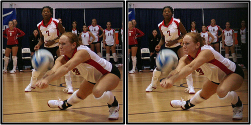 The volleyball dig or digging a volleyball up in defense means that you are able to keep an attacked ball by the opposing team off your court floor. (Michael E. Johnston)