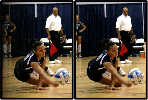 Volleyball Digging: Never let a ball hit the floor without maximum effort to prevent the ball from hitting the floor. Play the ball low and at its lowest point possible. (M.E.Johnston)