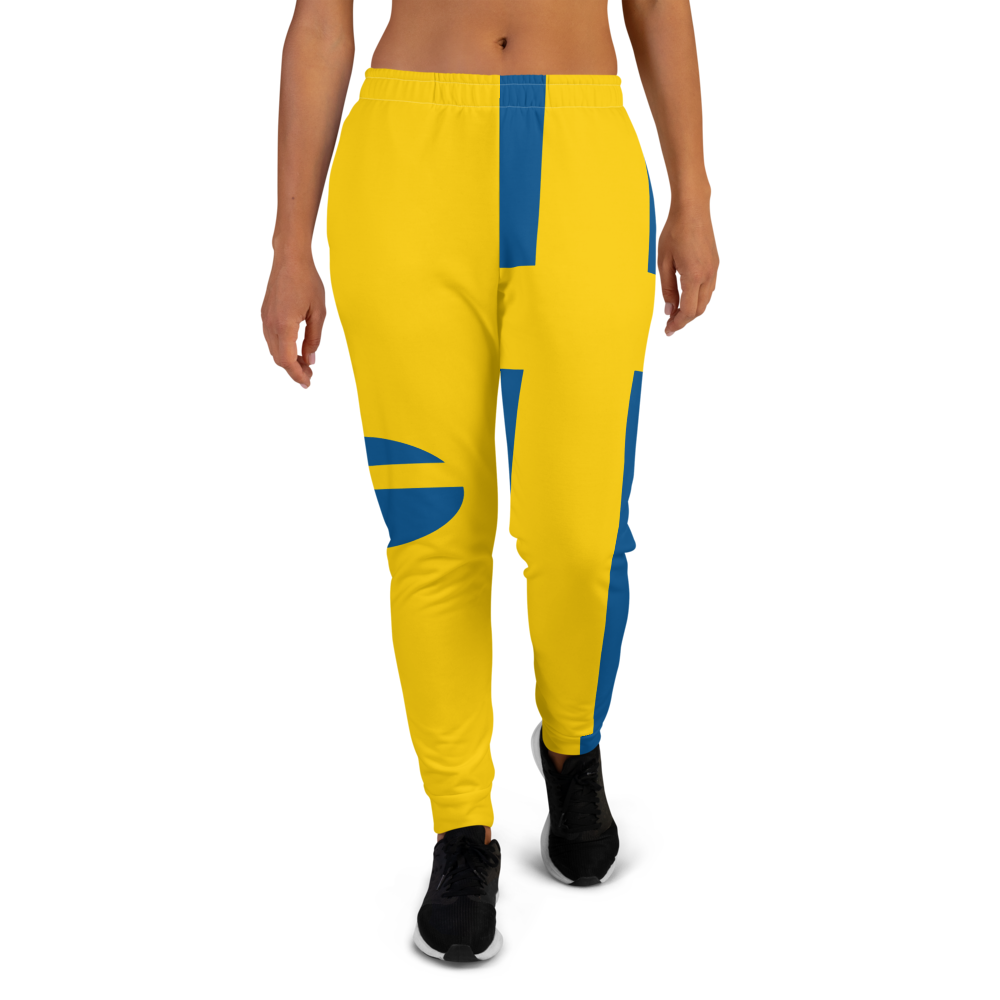 Yellow jogger pants inspired by the national flag of Sweden available Spring 2021.