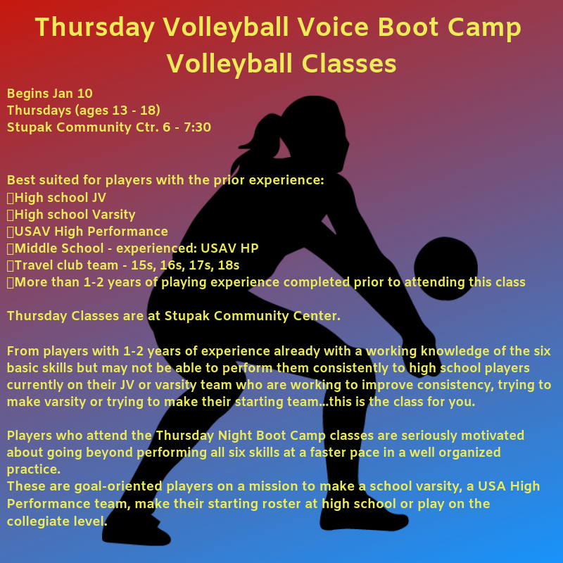 Thursdays Volleyball Voice Boot Camp Volleyball Class  Begins Jan 10 Thursdays (ages 13 - 18)  Stupak Community Ctr. 6 - 7:30