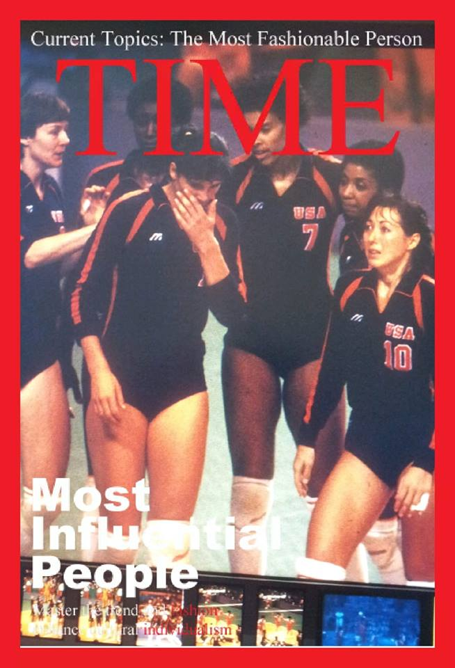 USA women's first ever Olympic silver medalists, '84 Los Angeles Olympics. Famous volleyball players Julie Vollertsen, Rose Magers, Paula Weishoff, Flo Hyman, Rita Crockett and Debbie Green.