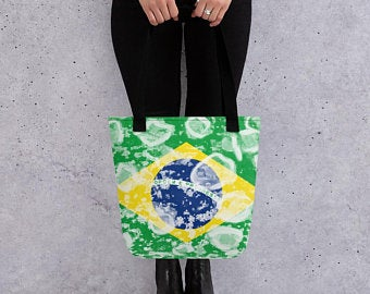 Tote Bags - Create A Cute Beach Volleyball Outfit With Brazil Flag Inspired Designs by Volleybragswag