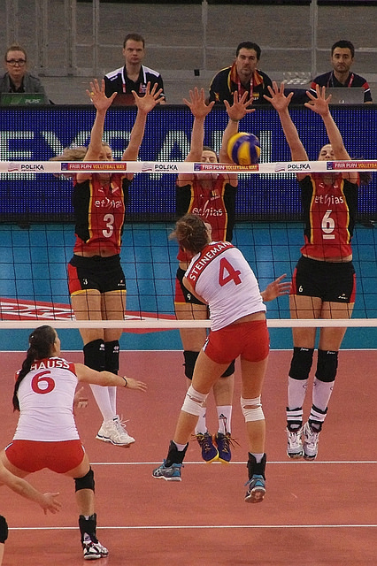 Learning how to play volleyball: The triple block, three blockers