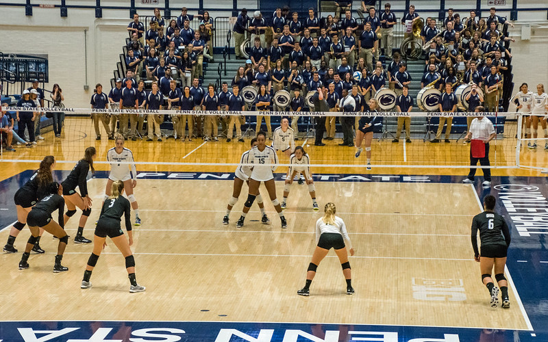 Volleyball Rotations: Penn State server begins the rally with a serve as Ohio waits in serve receive after the whistle has blown to start the rally. (Craig Fildes)