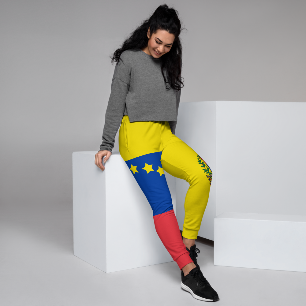 Yellow jogger pants inspired by the national flag of Venezuela by Volleybragswag.