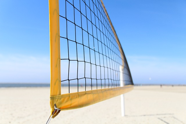 Volleyball Net Height: Volleyball net on the beach