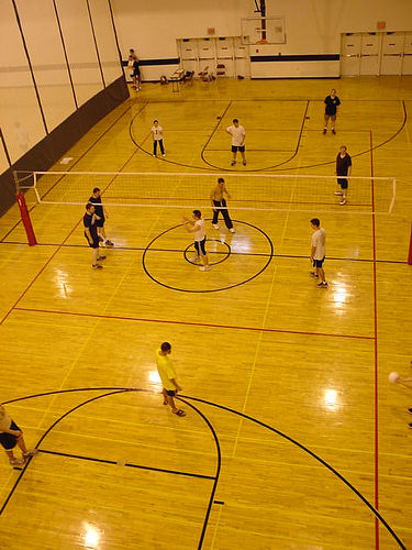 Indoor volleyball court lines