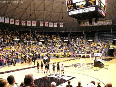 Wichita State volleyball team in Koch Arena