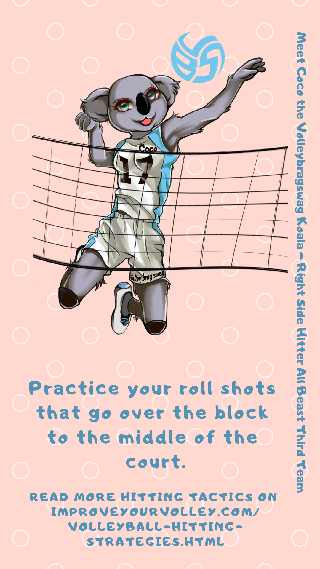 Hitting Tactics: Practice your roll shots that go over the block to the middle of the court.