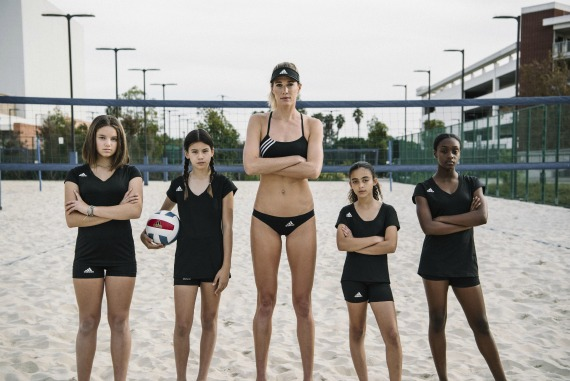 The line of Adidas volleyball uniforms, particularly their popular Adibody compression shorts have a combination of polyester/spandex blended materials.