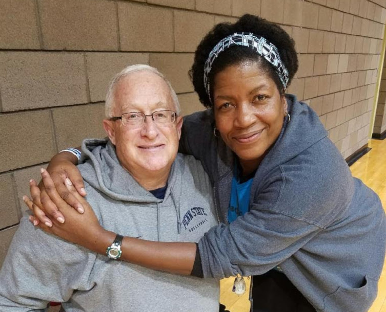 Coach April with her coach 7-time NCAA champion head coach Russ Rose at Stupak Community Center in Las Vegas, NV.