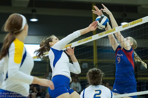 A successful Big 12 Kansas volleyball block. (ShakesKC)