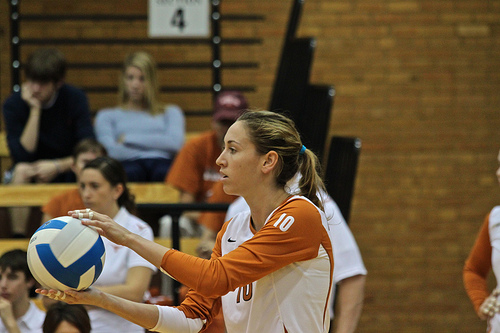 Volleyball serve techniques: The overhand serve, underhand serve and jump serve are the 3 volleyball serve techniques players learn. Texas' Ashley Engle about to serve the ball
