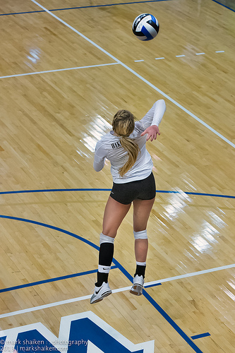 If the ball doesn't come back to your side or if it hit the floor on the opposing team's court without any player touching it, then you scored a volleyball ace. (Mark Shaiken)