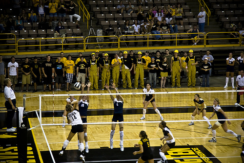 Volleyball Defense: Utah Blockers With Backrow Defenders Outside of the Block Against Iowa Hitters