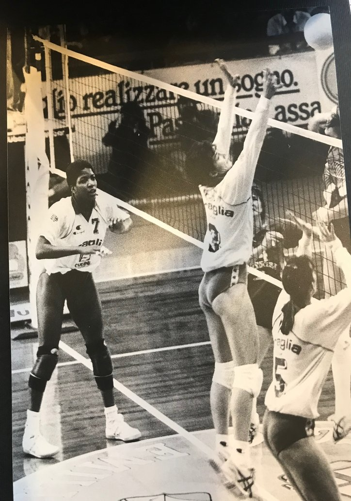 #3 middle blocker Paula Weishoff and I played together in Reggio Emilia, Italy. Paula a silver and bronze medalist and Olympic MVP played in the 1984, 199 and  1996 Olympics as a player.