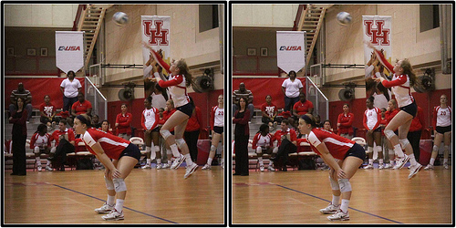 Indoor volleyball court:Tulsa Volleyball Team Server in Zone 1 and Middle Back Player In Zone 6 On Defense