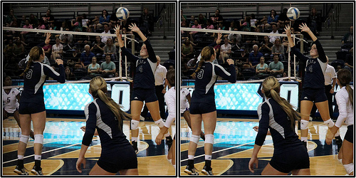 Volleyball Set Definition: The half shoot is a high velocity set which reaches about 1-2 feet above the top of the net and lands one foot off the net between Zone 3 and Zone 4. (Michael E. Johnston)