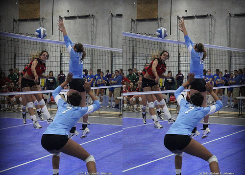 Double Block Volleyball Techniques: Some blockers jump